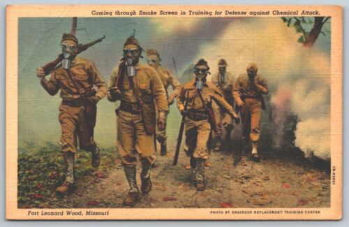 WWI Fort Leonard Wood Missouri Soldiers With Gas Mask Post Card P2