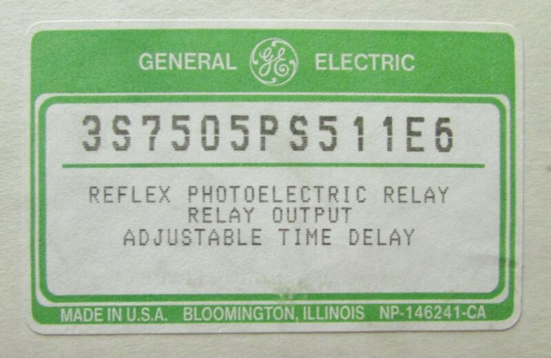 GENERAL ELECTRIC GE Photoelectric Reflex Relay Sensor Scanner 3S7505PS511E6