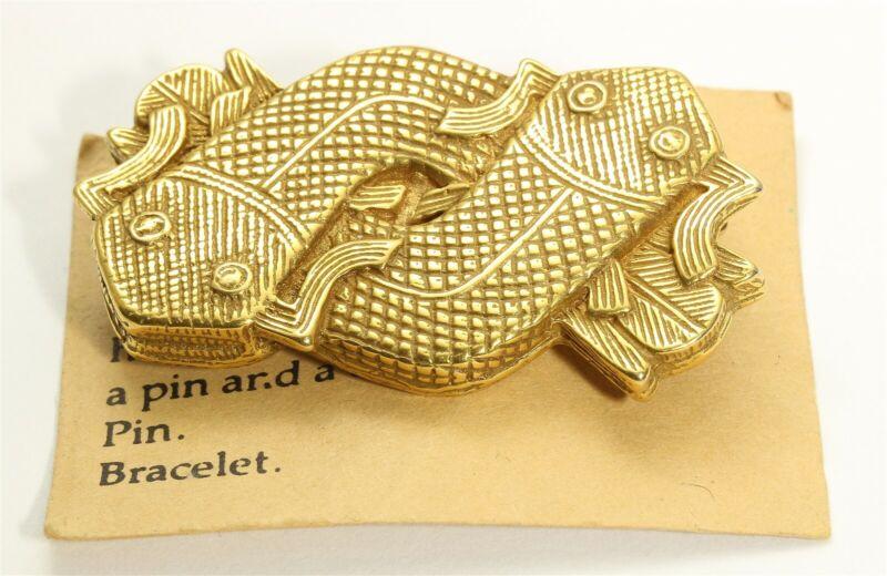 Vintage Mudfish Ornament Benin African Modernist Figural Brooch Pin Pendant