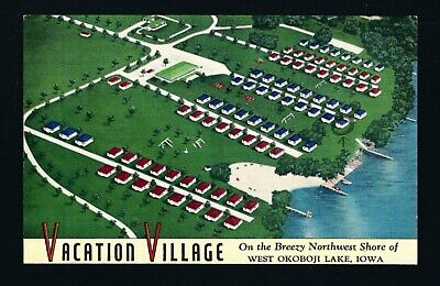 West Okoboji Lake, Spirit Lake Iowa IA 1952 Aerial View, EARLY Vacation Village