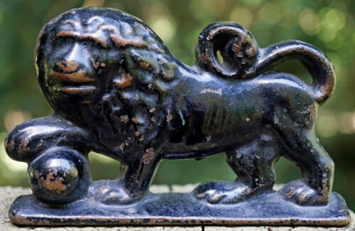 Black Painted Bronze Metal Lion with Ball Figurine