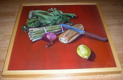 Red Onion Salad - ROMAINE LETTUCE LEMON SALAD RED ONION GARDEN VEGGIES BREAD STILL LIFE PAINTING