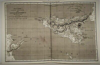 OLD ANTIQUE MAP SICILY ITALY c1807 by  MACPHERSON / COOPER PROVINCIA ROMANORUM