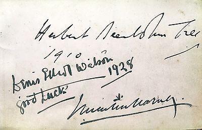 SIR HERBERT BEERBOHM TREE /  SIR JOHN MARTIN HARVEY/  NORMA WHALLEY AUTOGRAPHS