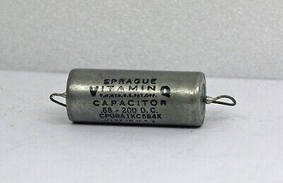 One 1 Nos Sprague Vitamin Q .68uf 200vdc Paper In Oil Capacitor