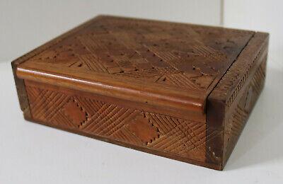 VINTAGE HAND MADE WOOD LIDDED BOX ANTIQUE CIGARETTE TRINKET JEWELLERY CHEST 12