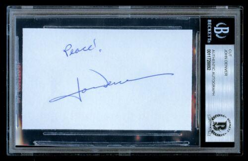 John Denver signed autograph 2.5x3.5 cut Take Me Home, Country Roads BAS Slabbed