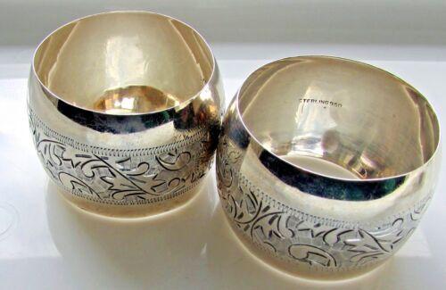 Sterling Silver  Napkin Ring Holder  Pair Lot 2 Etched Engraved Floral Leaf