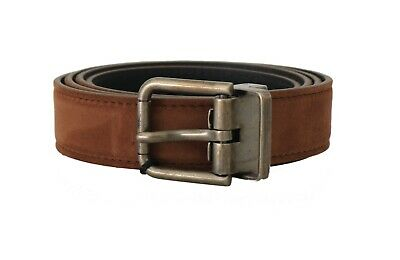 NEW $350 DOLCE & GABBANA Belt Brown Suede Leather Brushed Buckle Mens 90cm /36in