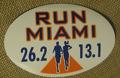 (MIAMI 26.2 MARATHON RUNNER 13.1 AUTHENTIC OVAL CAR STIICKER MINT UNUSED NEW)
