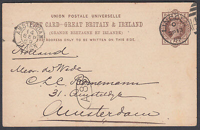 1889 Lincoln: Amsterdam,Holland; Inspector Mark; 1d brown Stationery Postcard