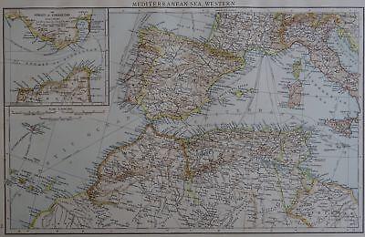 Victorian Map 1896 of WESTERN MEDITERRANEAN SEA & GIBRALTAR Times Atlas 1st Gen