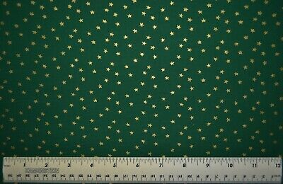 By the 1/2 yd 100% cotton fabric Gold Stars on Dark Green Ho