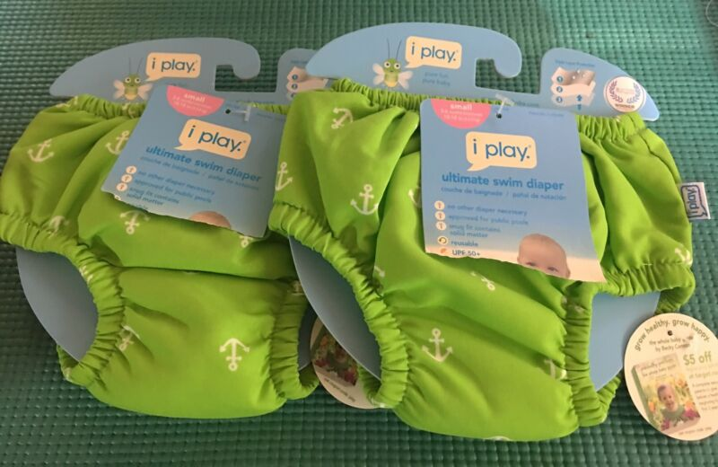 New 2 iplay Baby Swim Diapers Green Anchors S 3-6 Mon UPF 50+ Reusable Washable