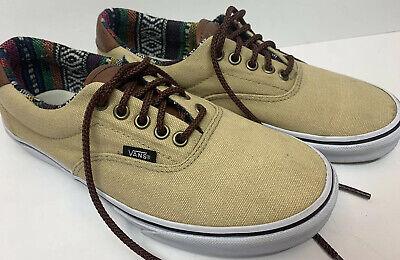 VANS Classic Canvas TC9R Shoes w/ Tan Men's Size 7.5 Aztec Lining Leather Tongue