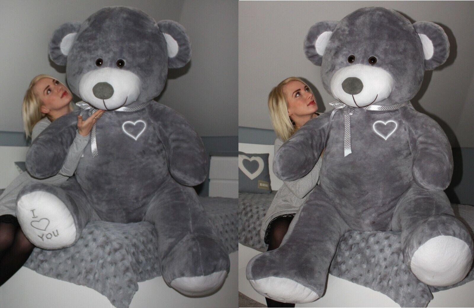 XXL Teddybär Plüsch Kuschel Stoff Tier Riesen Teddy Bär Valentinstag Geschenk XL Grau