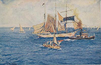 Türkei Turkey Ottoman  Ansichtskarte Schiffe Künstlerkarte  Reichsmarinestiftung