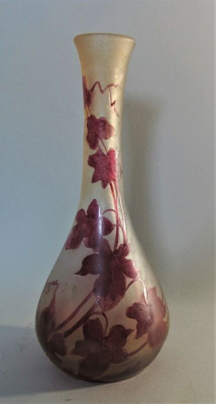 Fine Signed LEGRAS Cameo Glass Vase w/ Red Floral Design  c. 1910 antique French