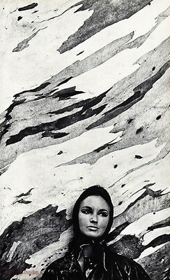 1967 Vintage ABSTRACT FEMALE Woman Fashion Face Photo Gravure SAM HASKINS 16x20