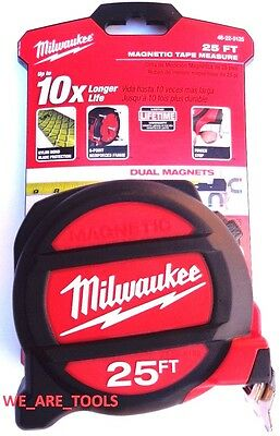 New Milwaukee 25 Heavy Duty Tape Measure 48 22 5125 Magnetic 2 Sided 25Ft Nylon