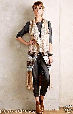 NWT Anthropologie Sleeping On Snow tan aqua Maxi Sweater Vest XS/ S