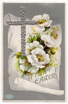 Happy Easter Greeting c1914 Silver Cross, White Flower, vintage embossed pc