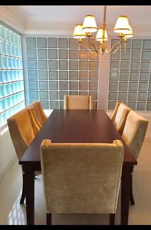 7 Piece Dining Table Setting W Coco Republic Chairs