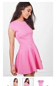 Boohoo pink open back dress