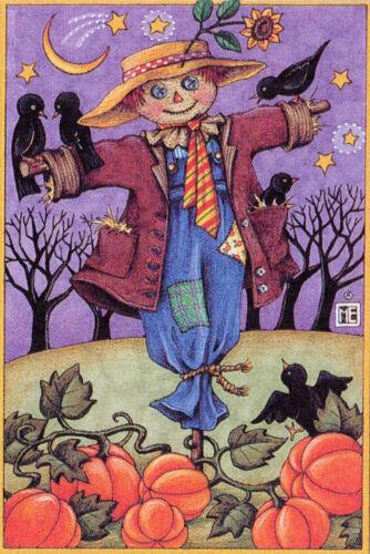 Scarecrow Pumpkin Patch-Handcrafted Halloween Magnet-w/Mary Engelbreit art