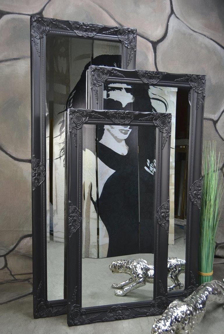 Wandspiegel Badspiegel Spiegel barock antik Schwarz Landhaus Rokoko 140 x 50 cm