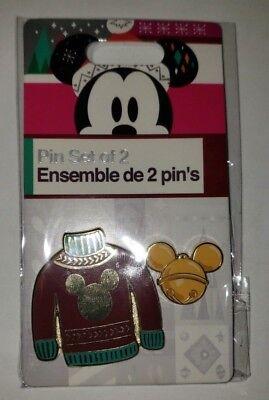 Disney 2018 Ugly Red Christmas Sweater Mickey Ornament 2 Pin Set DVC AP VISA