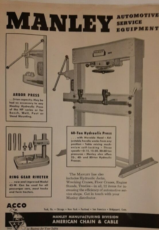 1947 Manley Automotive Service Equipment AD Hydraulic Press