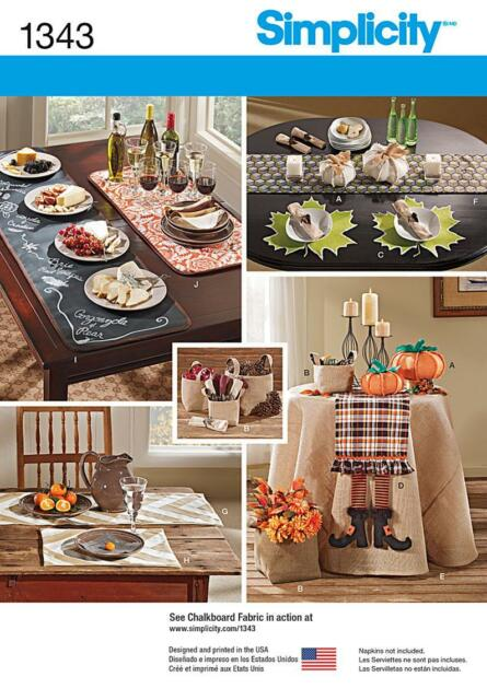 Simplicity SEWING PATTERN 1343 Table Accessories Inc Runners,Tablecloth,Pumpkins