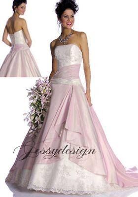 Farbig Rosa Brautkleid Hochzeitskleid Weiß A-Linie Schnürt Perlen Spitze Blau