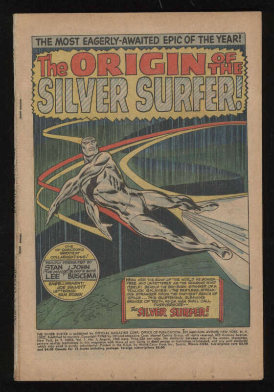 Silver Surfer #1 Poor .5 OW Pgs Marvel Silver Age SA