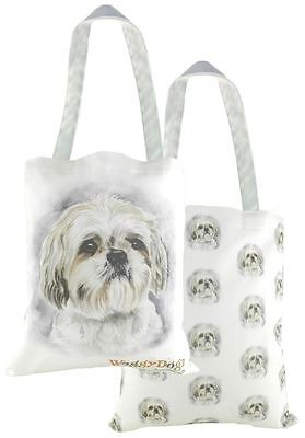 EVANS LICHFIELD MADE IN UK 100% COTTON TOTE CLOTH SHOPPING BAG SHIHTZU PUPPY DOG