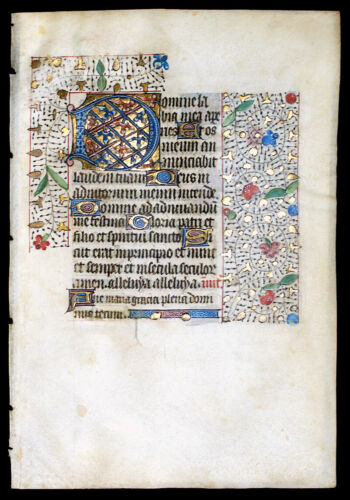 LOVELY ILLUMINATED MANUSCRIPT BOOK OF HOURS LEAF 1450 ELABORATE INITIAL GOLD