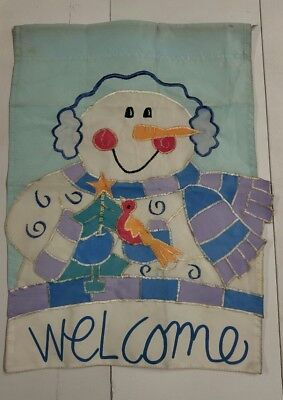 SNOWMAN WELCOME GARDEN FLAG NYLON 15 X 10 1/2 Inch Vintage 1990's Multi Colored -