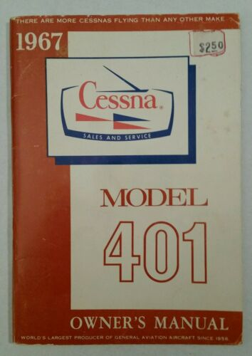 Excellent Pristine Inside 1967 Cessna 401 Owner's Manual D594-13 Printed 2/69