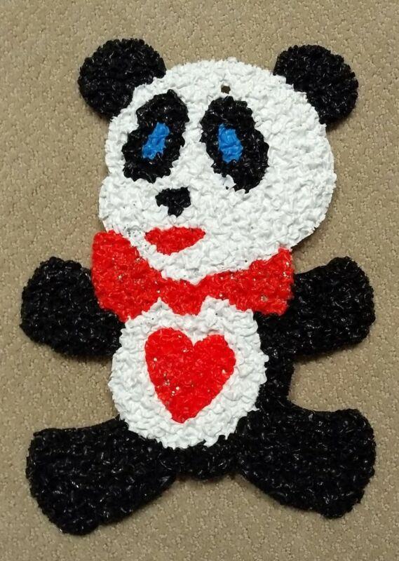 Vintage Melted Plastic Popcorn Panda Bear Valentine