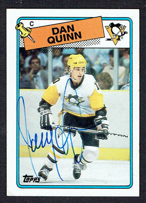 Dan Quinn  41 Signed Autograph Auto 1988 89 Topps Hockey Trading Card
