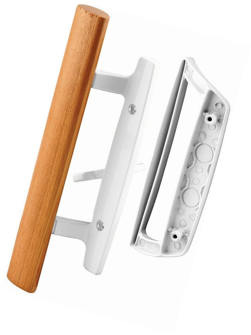 Prime-Line Sliding Glass Door Handle Set Pull Wood Tone White Steel New 143532