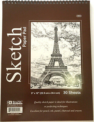 High Quality Sketch Paper Pad Book, 9 x 12 inches, Each 30 Sheets NEW BAZIC