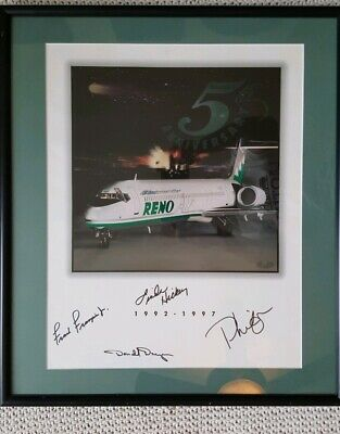 Reno Air 5th Anniversary Flyer 1992 - 1997 Autographed Photo Framed. (Anniversary Autograph Photo Frame)