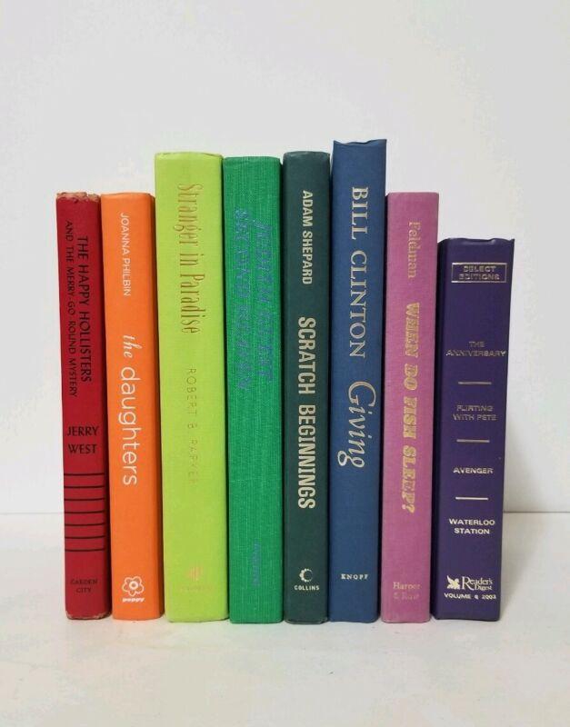 Rainbow Pride Vintage Modern 8 Books Decorative Decor Library Wedding Staging