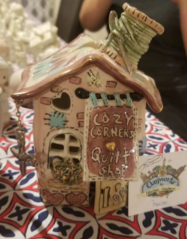 Clayworks blue sky cozy corner quilt shop by heather goldminc Candle Holder