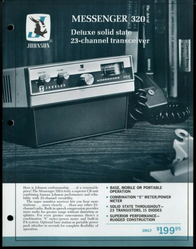 Vintage JOHNSON Messenger 320 CB Transceiver Print Ad Sales Spec Sheet