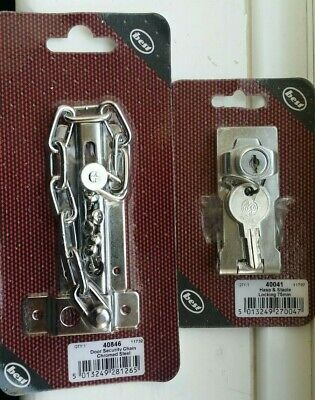 Locking Hasp and Staple 75mm & Door Security Chain Chrome Plated New Sealed