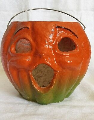 Halloween Paper Mache Jack-o- Lantern Pumpkin 1940s Vintage
