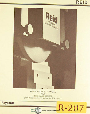 Reid Fayscott Hahd 618 Surface Grinder Instructions And Parts Manual